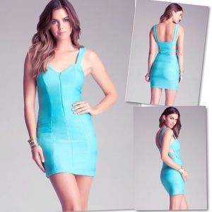 BEBE TURQUOISE ZIP RIBBED CUT OUT BODYCON DRESS